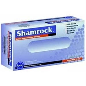 Picture of Shamrock® Latex Gloves Powder-Free (Box of 100) Shamrock 10111, SH10112, Shamrock 10113, SH10114, Shamrock Gloves, SH10111, SH10113