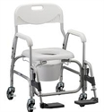 "Picture of Shower Chair Commode Deluxe with 4"" Wheels and Swing Away Footrests"