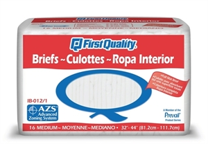 Picture of First Quality® Adult Briefs Medium (Case of 96) aka Medium Adult Diapers, Medium Adult Briefs, Prevail Briefs, Prevail Diapers, Moyenne Culottes