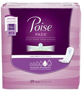 Picture of Poise® Pads Maximum Absorbency Long Jumbo Pack (Pack of 39) aka Bladder Control Pads, Poise Pads