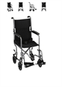 "Picture of Transport Chair with Carbon Steel Frame 19"" Full-Arm Removable Footrest (Silver) aka Steel Transport Chair"