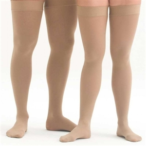 Picture of Microfiber Graduated Compression Stockings 20-30 mmHg (Small)(Thigh-High Close-Toe)(Beige) aka Leg Wear, Thigh High Compression Stockings