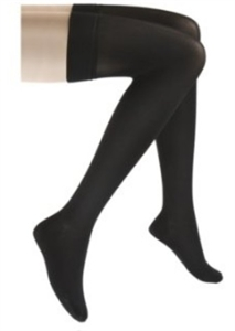 Picture of Microfiber Graduated Compression Stockings 20-30 mmHg (Thigh High - Closed Toe)(Black) aka Compression Stockings, Bell Horn Stockings, Dr. Comfort Compression Stockings