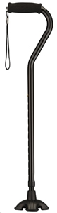 Picture of Nova Sugar Cane (Black) Offset Handle, Quad Tip Cane, Stability Cane, Quadpod, Stand alone cane