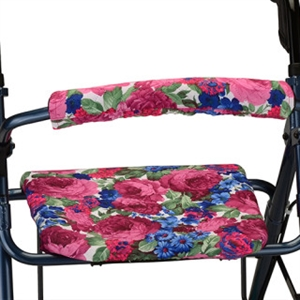 Picture Of Nova Rolling Walker Seat And Backrest Cover Set (English Garden   Cotton/