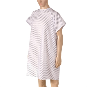Picture of Washable DMI Hospital Convalescent Gown with Back Ties (Pink Print)(each) aka Patient Gowns, Reusable Hospital Gowns, Convalescent Gowns