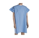 Picture of Washable DMI Hospital Convalescent Gown with Back Ties (Blue)(each) aka Patient Gowns, Reusable Hospital Gowns, Convalescent Gowns