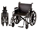 "Picture of Nova 24"" Heavy Duty Wheelchair with Reversible Desk Arms and Swing Away Footrests aka Transport Chair, Steel Wheelchair"