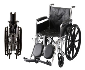 "Picture of Nova 18"" Steel Wheelchair, Fixed Full Arm and Elevating Leg Rests"