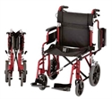 Picture of Nova Lightweight Transport Chair with Hand Brakes and Flip up Desk Arms (Red Frame) aka Wheelchair