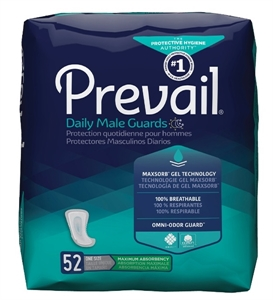 "Picture of Prevail Daily Male Guards 13"" Long (Pack of 52) aka Male Incontinence Pads, Mens Pads, dribbler, men's incontinence pads, Prevail PV-812, Adult Incontinence Products"